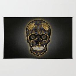 Skull Yellow | Tessellating Skulls Pattern | M. C. Escher Inspired Geometric Artwork by Tessellation Rug