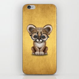 Cute Cougar Cub Wearing Reading Glasses on Yellow iPhone Skin