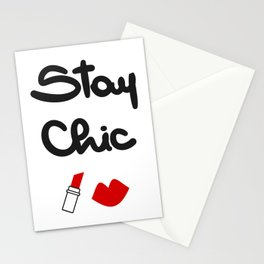 cute hand drawn lettering stay chic quote with red lips and lipstick Stationery Cards
