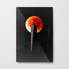 Blood Moon Over One World Trade Center and New York City Skyline Metal Print