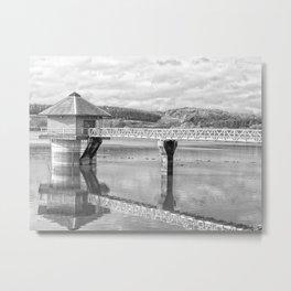 Cropston Reservoir Black And White Metal Print