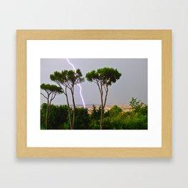Lightning Strike Rome Italy Framed Art Print