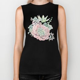 Pink Succulents by Nature Magick Biker Tank
