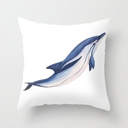 Striped baby dolphin Throw Pillow