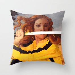 Botticelli's Venus & Beatrix Kiddo in Kill Bill Throw Pillow