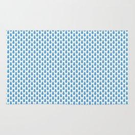 Indian Flowers Blockprint 1 (Mid Blue) Rug