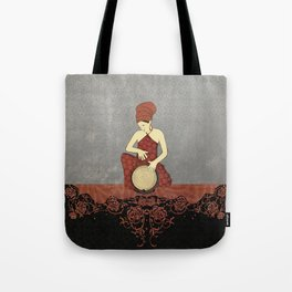 Rastafari Woman on Bongo Drum Tote Bag