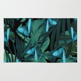Tropical Butterfly Jungle Night Leaves Pattern #5 #tropical #decor #art #society6 Rug