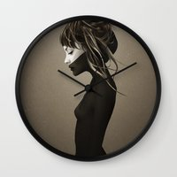 black Wall Clocks featuring This City by Ruben Ireland