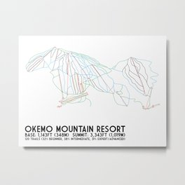 Okemo Mountain Resort, VT - Minimalist Trail Art Metal Print