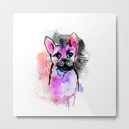 Pink Frenchie Metal Print