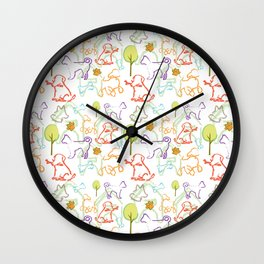 Dog Pattern Wall Clock