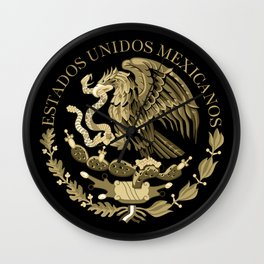 Mexican flag seal in sepia tones on black bg Wall Clock