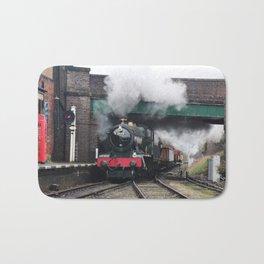 Vintage Steam Railway Train at the Station Bath Mat
