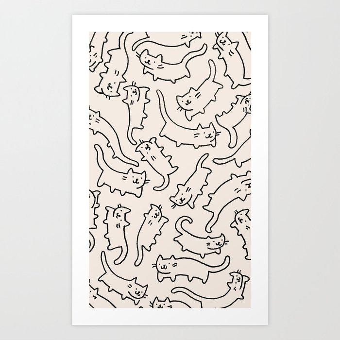 Floating Cats Art Print