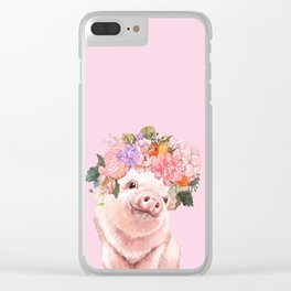 Baby Pig with Flowers Crown Clear iPhone Case