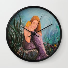 Mermaid Under The Sea Wall Clock