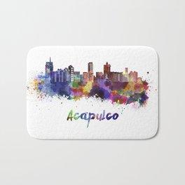 Acapulco skyline in watercolor Bath Mat