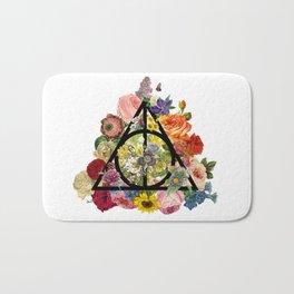 Floral Deathly Hallows - Black Bath Mat
