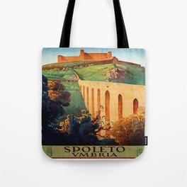 Vintage Spoleto Italy Travel Poster Tote Bag