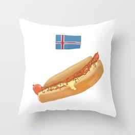 Icelandic Hotdog Throw Pillow