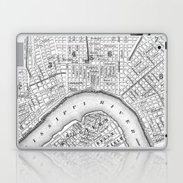 Vintage Map of New Orleans (1880) BW Laptop & iPad Skin