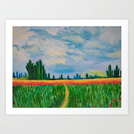 Monet's Expressionism Wheat Field Art Print