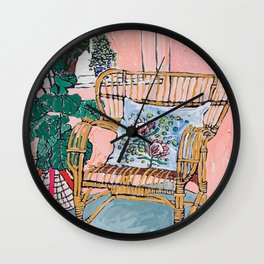 Cane Chair After David Hockney Wall Clock