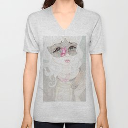 Mysterious Lady Butterfly Unisex V-Neck
