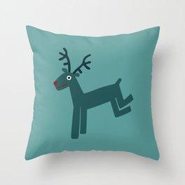 Reindeer-Teal Throw Pillow