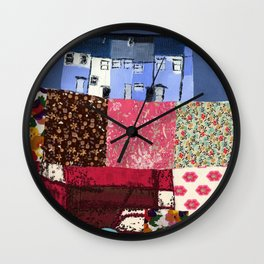 Houses in a Patch Wall Clock