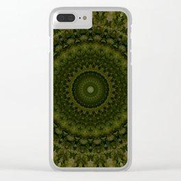 Mandala in olive green tones Clear iPhone Case