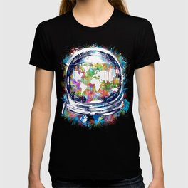 astronaut world map colorful T-shirt