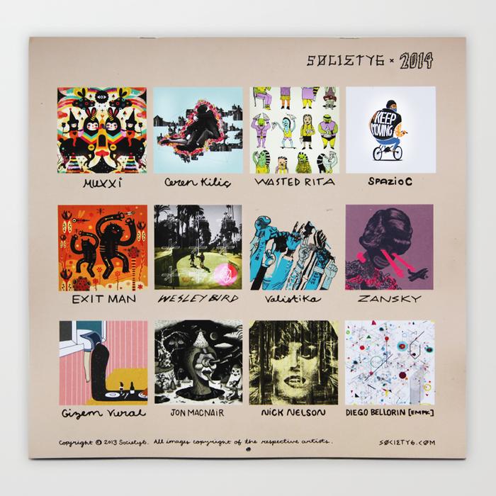 Society6 Artist Calendar 2014 Editions