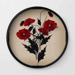 Flowers Art Poppies. Patchwork Wall Clock