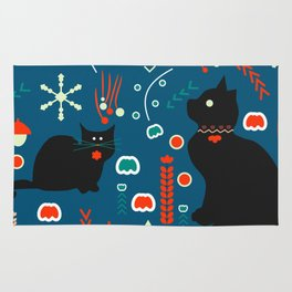 Black kitties in winter Rug