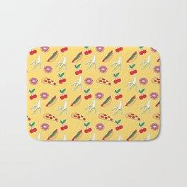 Modern yellow red fruit pizza sweet donuts food pattern Bath Mat