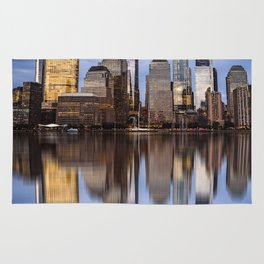 Cityscape of Financial District of New York Rug
