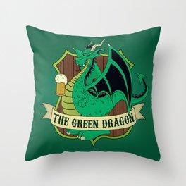 The Green Dragon Pub Throw Pillow