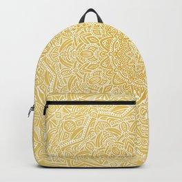Most Detailed Mandala! Yellow Golden Color Intricate Detail Ethnic Mandalas Zentangle Maze Pattern Backpack