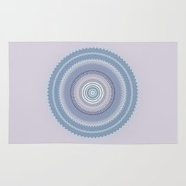 Inspirational Mandala in soft pastel colors of blue and lilac Rug