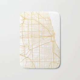 CHICAGO ILLINOIS CITY STREET MAP ART Bath Mat
