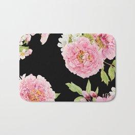 Black and Pink Watercolor Peony Bath Mat