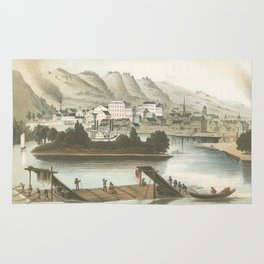 Vintage Pictorial View of Dubuque IA (1854) Rug