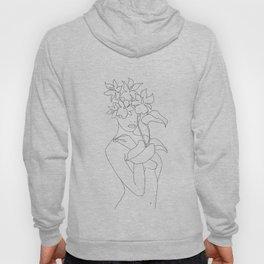 Minimal Line Art Woman with Flowers V Hoody