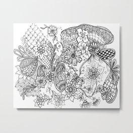 Doodle Garden Metal Print