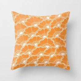 Hand-Drawn Summer Flowers: Orange Throw Pillow