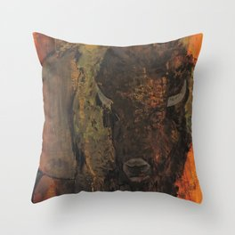 The Green Bison Throw Pillow