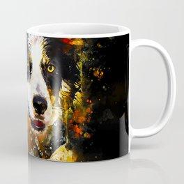 border collie jumping in water splatter watercolor Coffee Mug