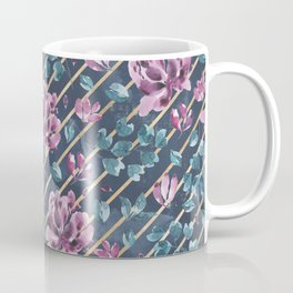 They Only Come Out At Night - Beautiful Abstract Flowers With Golden Stripes Coffee Mug
